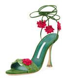 Xacaxtus Ankle-Wrap 100mm Sandal, Green/Fuchsia