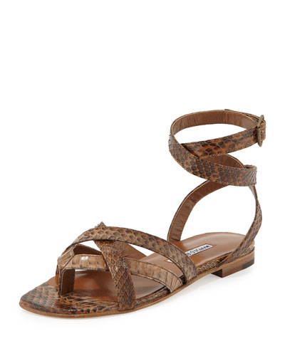 Turla Snakeskin Ankle-Wrap Sandal, Brown