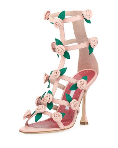 Doit Rosette Caged Sandals, Rose