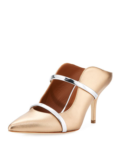 Maureen 75mm Metallic Leather Two-Strap Mules