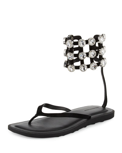 Aubrey Crystal Caged Thong Sandal, Black