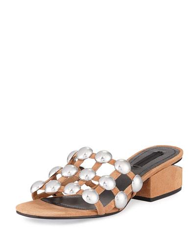 Lou Dome-Studded Slide Sandal, Beige