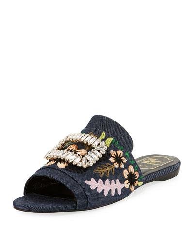 Strass-Buckle Floral Denim Slide Sandal, Black/Blue