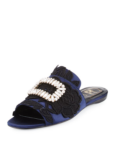 Strass-Buckle Macramé Slide Sandal, Black/Blue