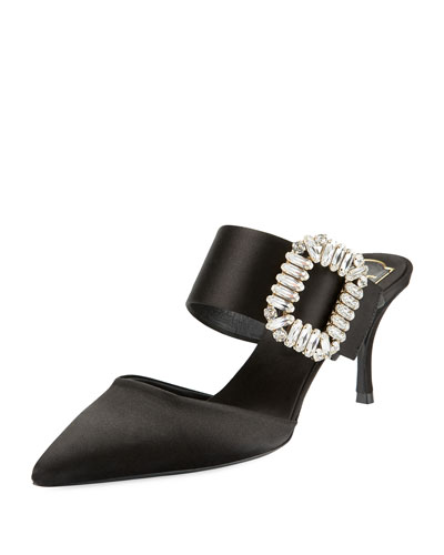 Strass-Buckle Pointed-Toe 65mm Mule, Black