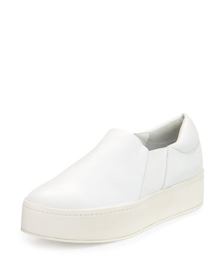 Vince Warren Leather Platform Skate Sneakers, Plaster White