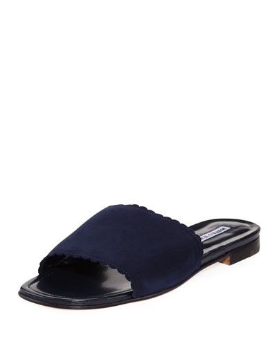 Suede Scalloped Slide Flat Sandal, Navy