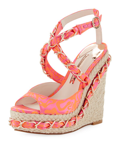 Kaia Satin Wedge Espadrille Sandal, Multi