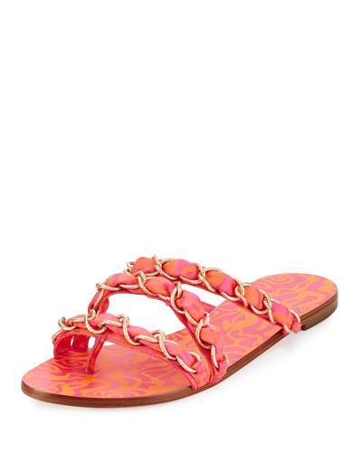 Taya Woven Satin Chain Flat Sandal, Multi