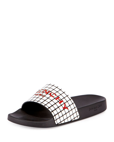 Printed Rubber Logo Sandal Slide, Black
