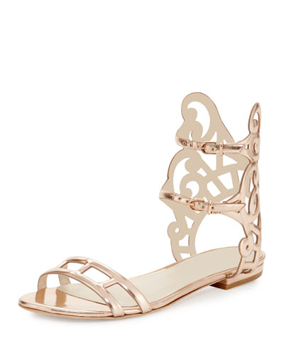 Birdie Swirl Flat Sandal, Rose Gold