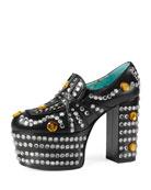 Amilna Crystal Platform Loafer, Black