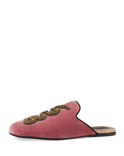Gucci Lawrence Crystal-Embroidered Velvet Slippers, Red