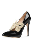 Elaisa Pearly Bow Pump, Black