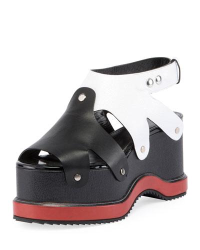Colorblock Leather Platform Sandal, Nero