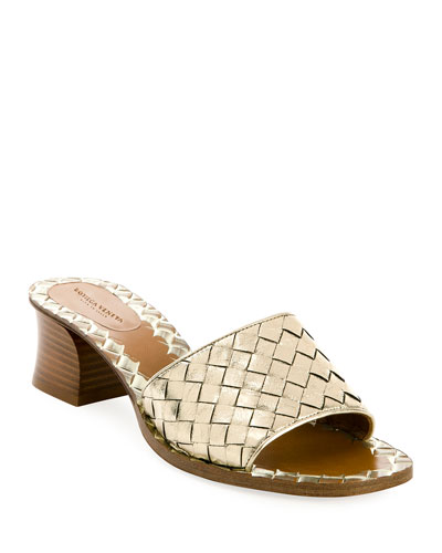 Intrecciato Metallic Leather 40mm Slide Sandals