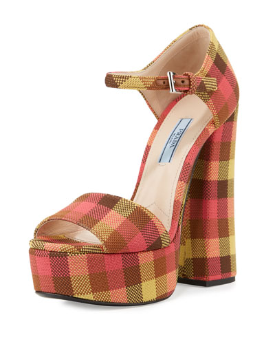 Jacquard Platform Ankle-Wrap Mary Jane Sandal