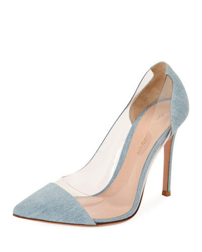 Denim Illusion Cap-Toe Pump, Blue