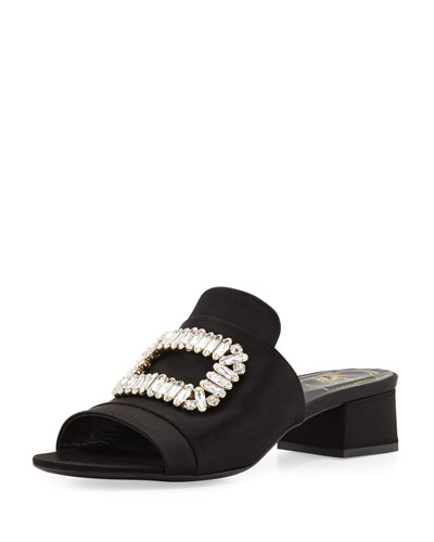 Satin Buckle Mule Slide, Black