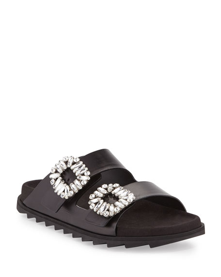 Roger Vivier Strass-Buckle Two-Band Slide Sandals, Black