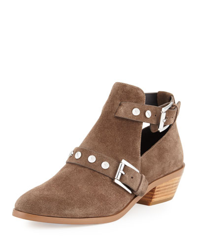 Abigail Suede Buckle Bootie, Olive