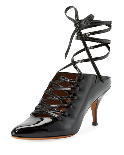 Patent Lace-Up 80mm Pump, Black