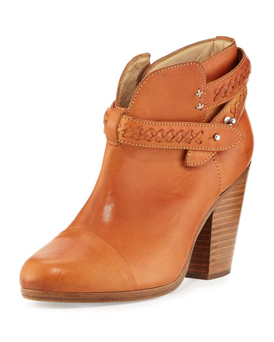 Harrow Belted Leather Ankle Boot, Beige