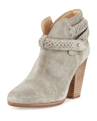 Harrow Belted Suede Ankle Boot, Gray