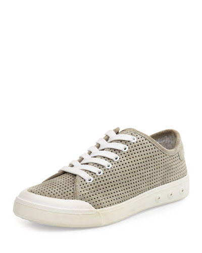Standard Issue Perforated Suede Low-Top Sneaker, Gray