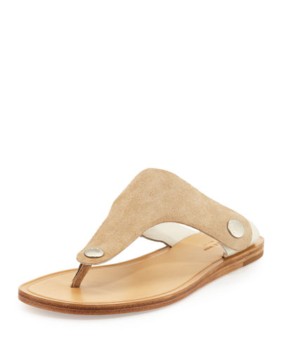 Luna Flat Suede Thong Sandal, Taupe