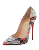 So Kate Printed Patent Red Sole Pump, Multi