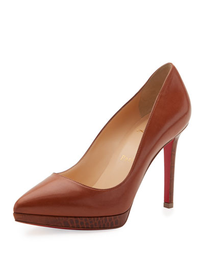 Pigalle Plato Napa 100mm Red Sole Pump, Brown
