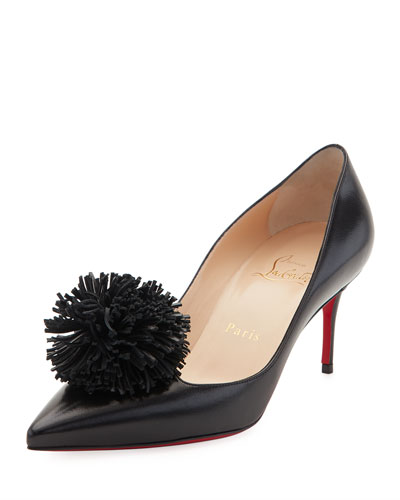 Konstantina Pompom 70mm Red Sole Pump, Black