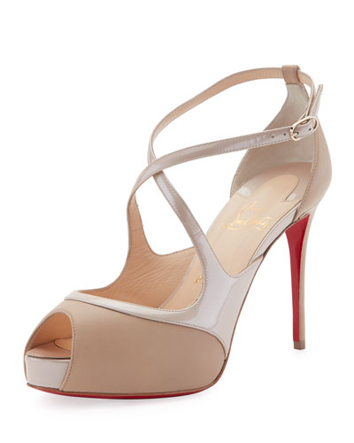 Mira Bella Crisscross Platform Red Sole Sandal, Nude