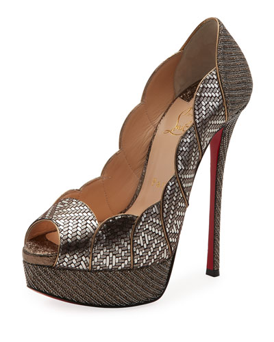 Torsatoe Scallop Platform Red Sole Pump, Gray