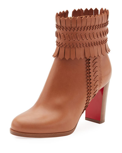 Pocabootie Woven Fringe Red Sole Bootie, Brown