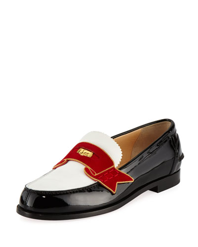 Moana Suede And Chain-Trimmed Leather Loafers, Black