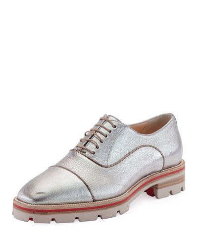 Huberta Orlato Metallic Flat Red Sole Oxford, Silver