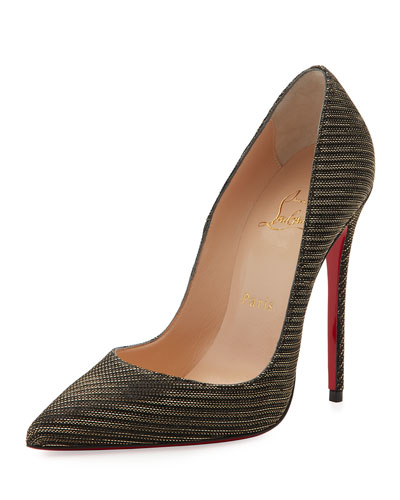 So Kate Glitter Chain 120mm Red Sole Pump, Black