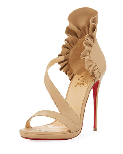 Col Ankle Ruffle Red Sole Sandal, Nude