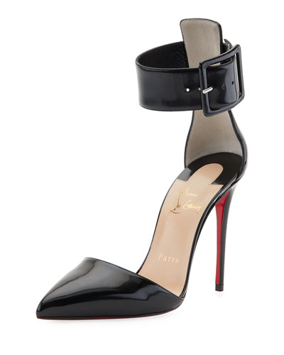 Harler d'Orsay Patent Red Sole Pump, Black