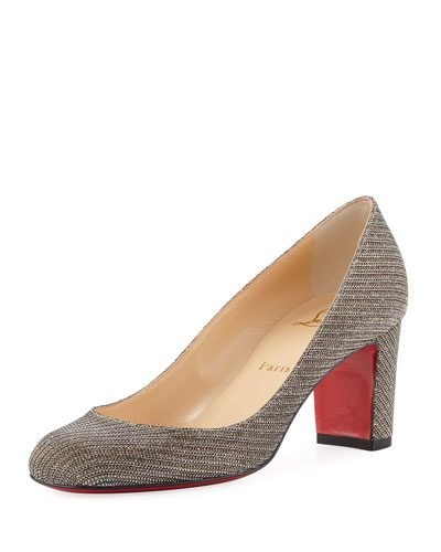 Cadrilla Glitter Block-Heel Red Sole Pump