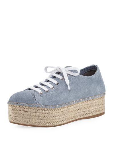Suede Platform Espadrille Sneaker, Light Blue