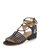 Skippity Denim Strappy Sandal, Navy