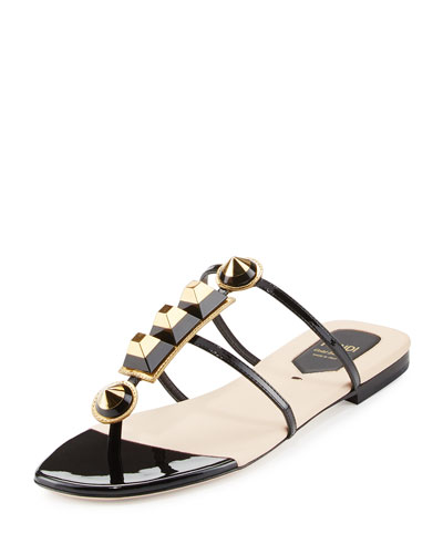 Gold Edition Studded Patent Thong Sandal, Black/Gold