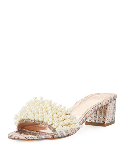 Tatiana Pearly Tweed Slide Sandal, Pink/Metallic