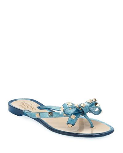 Rockstud PVC Flat Thong Sandal, Gold