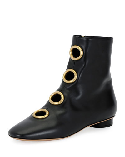 Bit Hoop Leather Bootie, Black