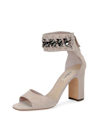 Suede Chain Ankle-Wrap Sandal, Poudre
