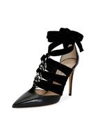 Chain Velvet Ankle-Wrap Pump, Black